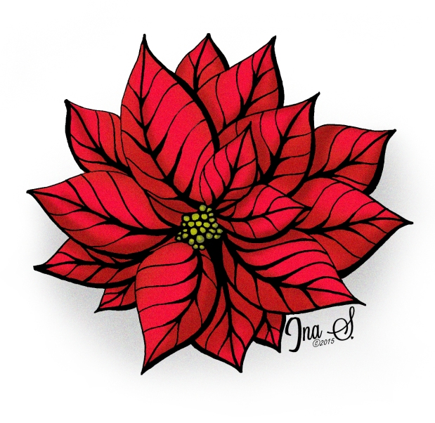 Poinsettia Artwork by Ina Sonnenmoser