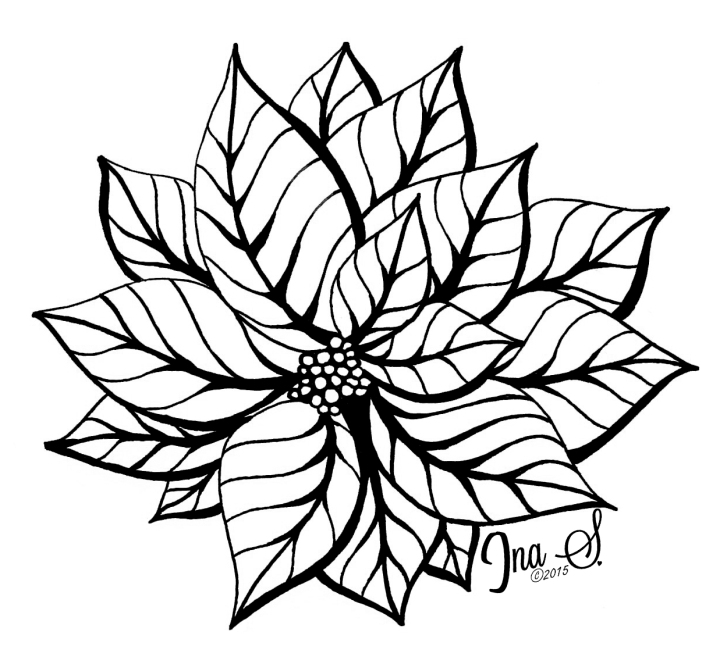 Poinsettia black and white by Ina Sonnenmoser